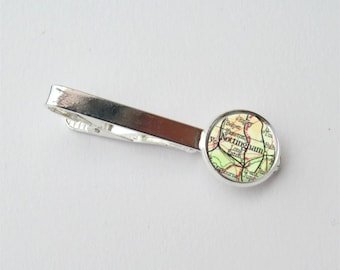 Custom Tie Clip, Map Tie Clip, Personalized Mens Gift