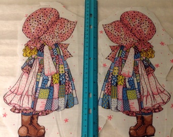 Vintage Holly Hobbie applique fabric cut and sew in pink