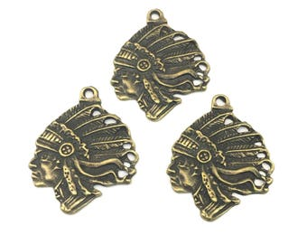 3 indian chief head charms bronze tone ,27mm x 35mm # CH 499