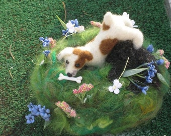 Needle Felted Dog /Custom Miniature Sculpture of your pet Cute / poseable/ example Muddy Jack Russell Terrier
