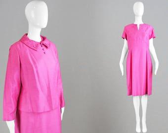 Robe vintage des années 60 deux pièces costume soie brute ensemble mariage invité rose des années 1960 Ensemble court manche robe mère de la mariée Sixties Mod tenue