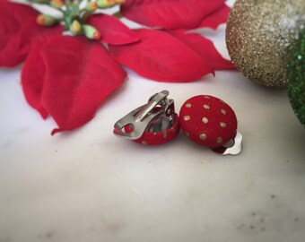 Red and Gold Earrings. Red Christmas Earrings. Dot Earrings. Handmade Earrings. Fabric Button Earrings. Stud Earrings. Clip On Earrings.