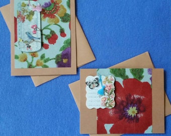 Two Handmade Greeting Cards with Bird, Butterfly, Flowers - Recycled Kraft Paper Cards with recycled handmade paper