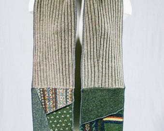 Wool scarf - Patchwork Scarf - Beige scarf - Green scarf - Recycled wool fabrics - Winter scarf Made in Quebec One of a kind Christmas gift
