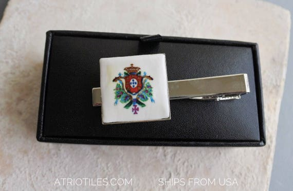 Portugal  Royal Seal or Brasao TIE BaR CLIP -Gift Box included!  Gift for Him Father Pai Dad Portuguese Ships from USA