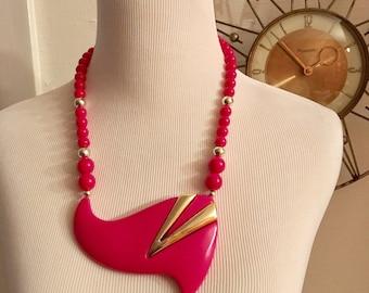 Vintage 80s Huge Pink Plastic and Gold Beaded Bib Necklace