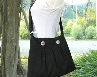 Black messenger bag canvas long strap shoulder bag side bag, girls book bag for school womens purse