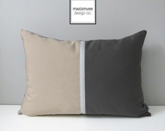 Grey Color Block Pillow Cover, Decorative Pillow Cover, Modern Sunbrella Pillow Case, Masculine Beige & Gray Throw Pillow Case Cushion Cover