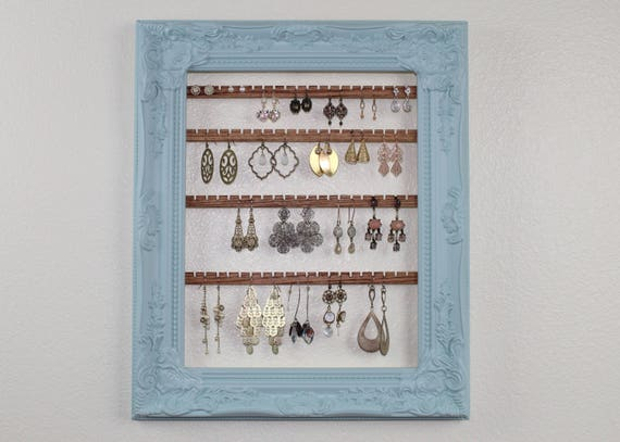 Ornate Earring Organizer Blue Hanging Earring Display