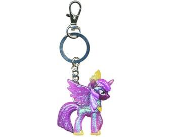 My keychain with little sparkle twilight princess pony plastic charm