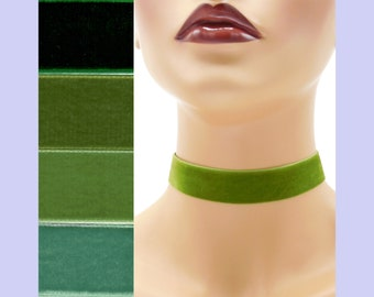 Green Velvet Choker 7/8 inch wide Custom made Your Length and Color shade (approximate width 0.875 inches;  22 - 23 mm) olive dark sage moss