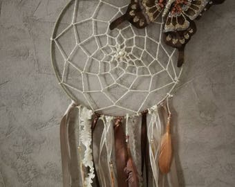 Beige taupe butterfly dream catcher