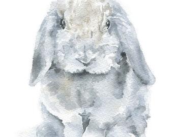 Mini Lop Bunny Rabbit - Watercolor Painting - Giclee Print - 11 x 14 - Nursery Art