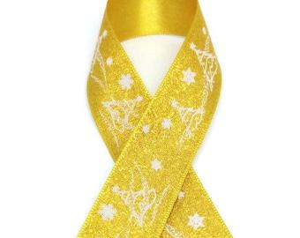 25Yards Metalic Gold  Christmas Satin Ribbon - 25mm(1'')