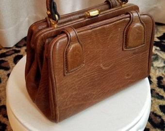 Vintage, 1960's, 1970's, Brown, Leather, Handbag, Purse, Satchel