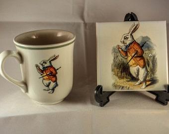 Victorian Original Tenniel Drawing White Rabbit Alice in Wonderland Upcycled Mug and new ceramic coaster