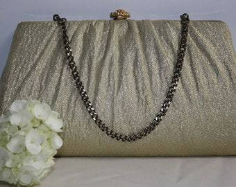 50s Gold Lame Evening Bag Clutch
