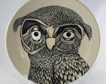 Painted owl platter