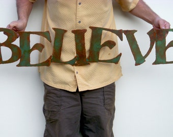 """Believe wall art 42"""" custom sign metal sign - choose your color with rust accents patina - steel sign wall art - believe metal wall art sign"""