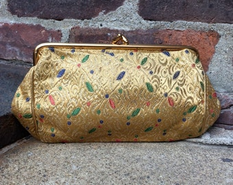 vintage brocade clutch // gold metallic thread // embroidered // 1950s