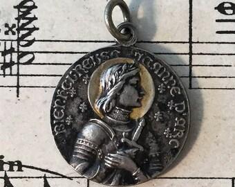 Antique French Art Nouveau Joan of Arc Religious Medal c1909
