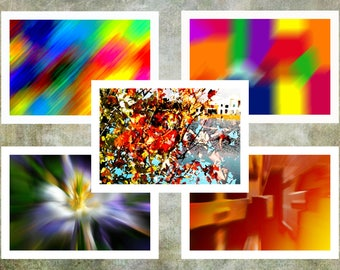 """Abstract Note Cards. A Set of Five Blank, Bi-fold 7"""" x 5"""" Note Cards Artistically and Digitally Created."""
