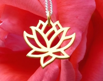 """Yoga Jewelry Lotus Necklace Satin 24K Gold Plated Bronze Flower Pendant 16"""" 18"""" 20"""" 18K Gold Simple Chain G558"""