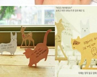 Message note post , memo post , keyboard paper - Deer, Dog, Penguin , Racoon or Cat
