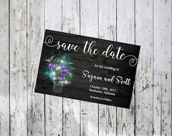 Black Wood with Mason Jar and Flowers Save the Date