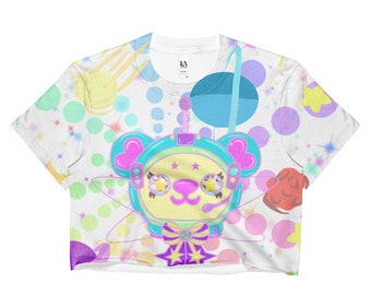 All Over Front Space Bear Print Crop Top