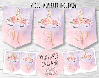 Unicorn garland, Unicorn birthday, unicorn banner, unicorn party,unicorn bunting,birthday banner, garland unicorn decoration, cake smash