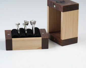 Knotty Reclaimed Walnut and Maple 3 Ring Box, Ring Bearer Box