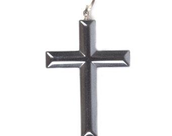 g1959 Two hematite cross pendant focal bead 43mm
