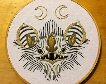 Twin Moon Bat Hand Embroidery