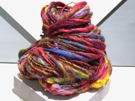"Thick Thin Art Yarn, bulky handspun yarn ""Summer Bouquet"" Coral, Hyacinth Blue Yellow Magenta red lavender spring green, Knitting weaving"