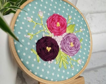 Embroidery HOOP art, new home gift, Floral Gift, Wall Art, Home Decor, home decoration, gift for her, new home, Shabby Chic style