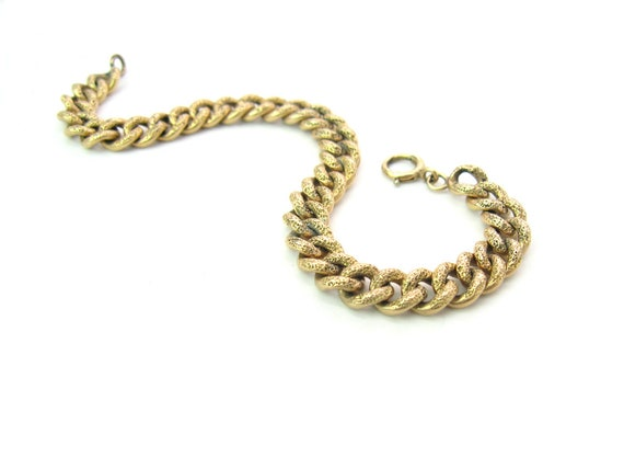 Victorian Gold Filled Curb Chain Bracelet French Murat Style Textured Pebbled Surface Antique Starter Charm Links 1890s 7.25 inches