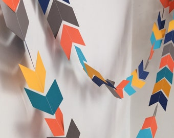 Arrow Head garland - Chevron tribal banner - Woodland Party decor - Camping birthday garland - Baby Shower decor- your color choices