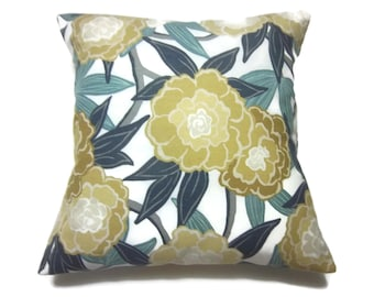 Decorative Pillow Cover Bold Modern Floral Teal Navy Blue Gold Yellow Gray White Same Fabric Front/Back Throw Accent 18x18 inch x