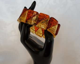 Honey and Amber Lucite Bracelet, Honey and Cognac Faux Amber Lucite Stretch Bracelet, Vintage Stretch Bracelet, Lucite Bracelet, Bracelet