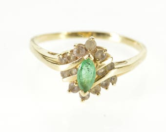 14k 0.55 Ctw Emerald Marquise Cubic Zirconia Ring Gold