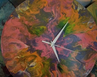 Hand-painted, upcycled vinyl record clock