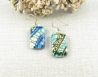 Small Hand-Etched Dichroic Glass Earrings - Petite Hanging Earrings - Fused Dichroic Glass Dangle and Drop Earrings - Dichroic Glass Jewelry