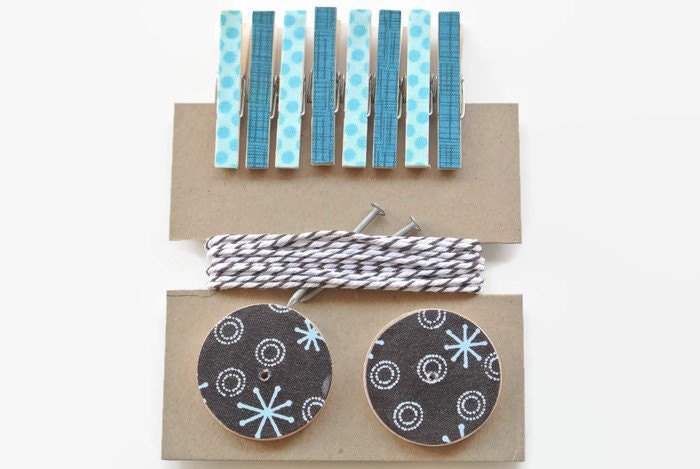 Art Hanging Kit ~ Mini Clothespins ~ Baker's twine ~ Nail Covers - Kid's Art Display Kit  ~ Fabric Scraps ~ Blues and Browns