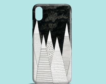 White Peaks phone case, black and white iPhone X, iPhone 7, 7 Plus, iPhone SE, iPhone 6S, iPhone 6, iPhone 5/5S, mountain iPhone 8 case