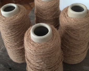 Luxurious 100% alpaca wool yarn cones, machine knitting, undyed, natural, weaving, fawn, tan, caramel.