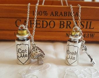 Alice in Wonderland Necklace, Drink Me Necklace, Silver Metal Charm Pendant Necklace, Alice 'Eat Men' 'Drink Me' Pendant