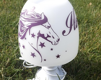 Bedside lamp horse star personalized