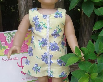 """American Girl doll or 18"""" doll shift dress made with up-cycled Lilly Pulitzer fabric"""