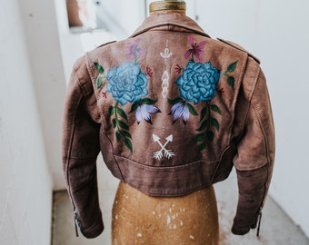 Hand-Painted Vintage Tanned Leather Boho Motorcycle Jacket // (Large)